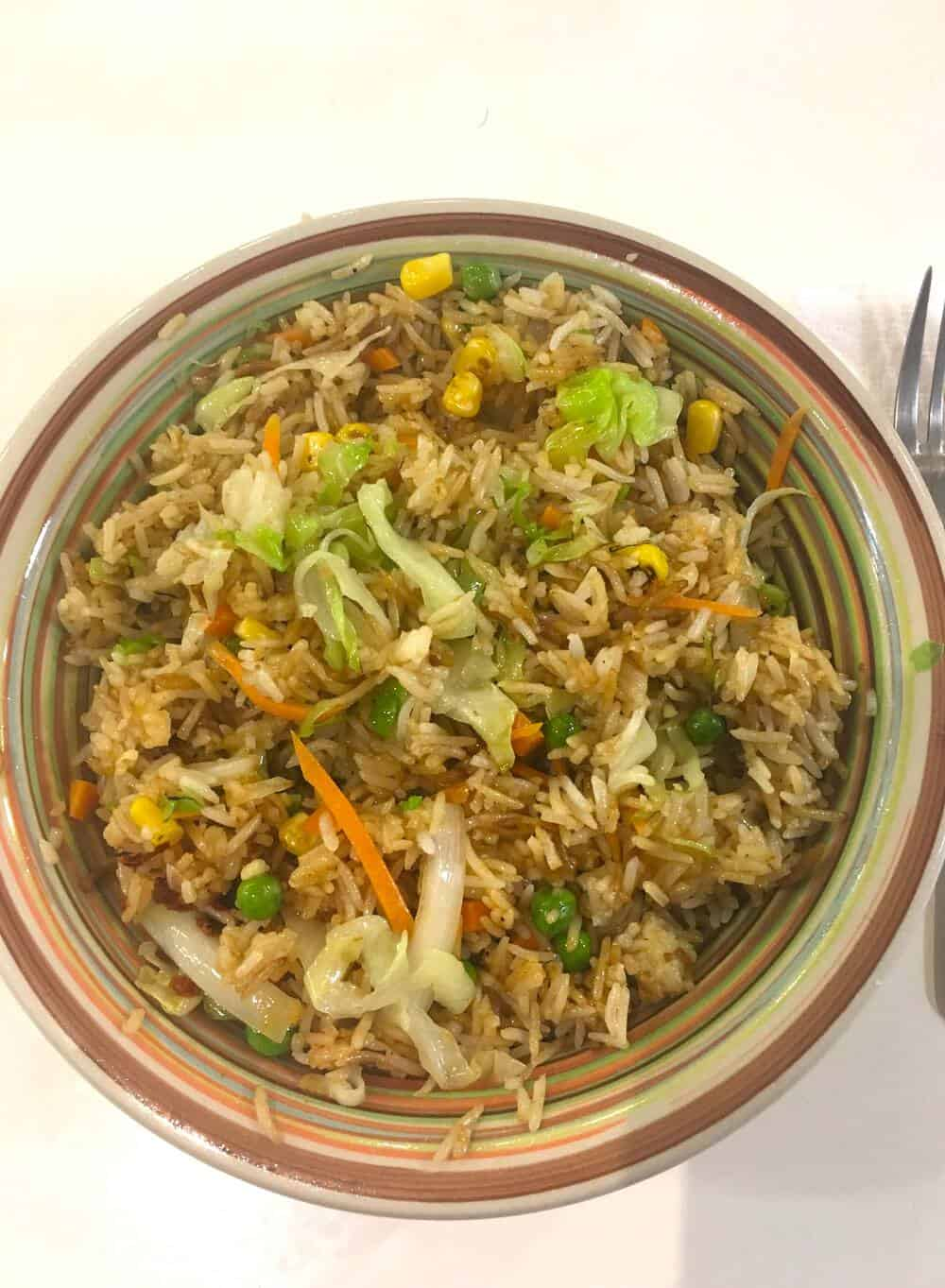 Fried Rice in a colourful plate