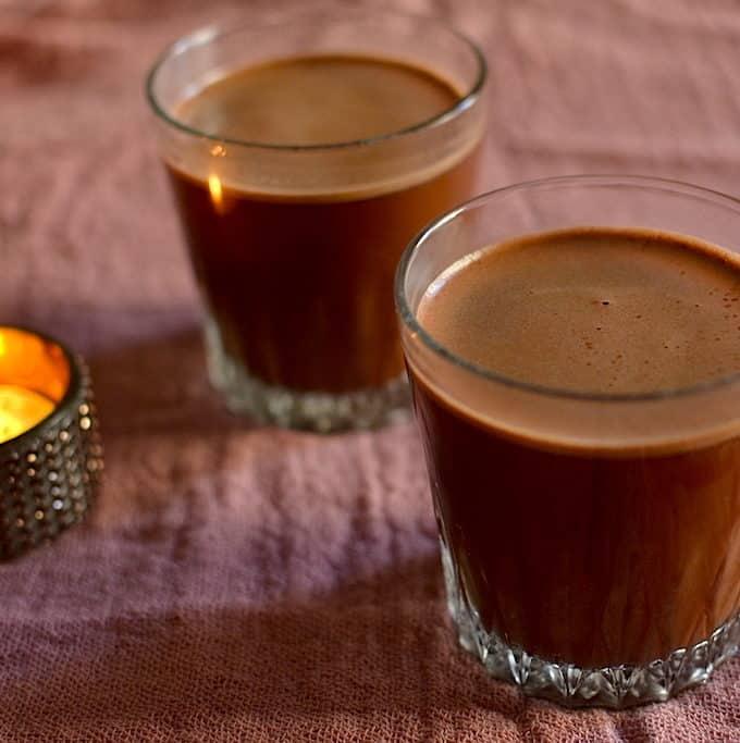 Sugar free hot chocolate in a glass