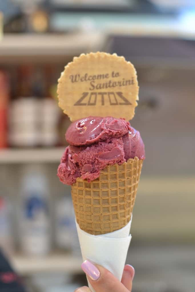 rasberry ice cream in a cone