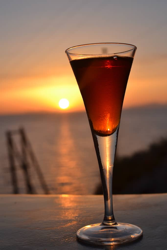 Vinsado wine with a sunset view