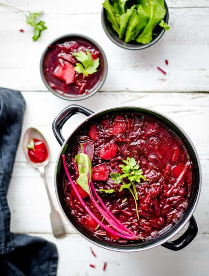 beetroots in a pan