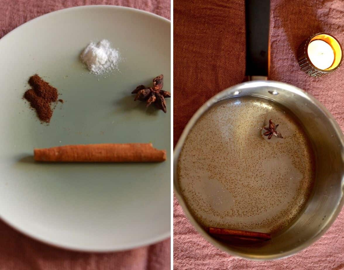 hot chocolate spices and a saucepan with water and a candle