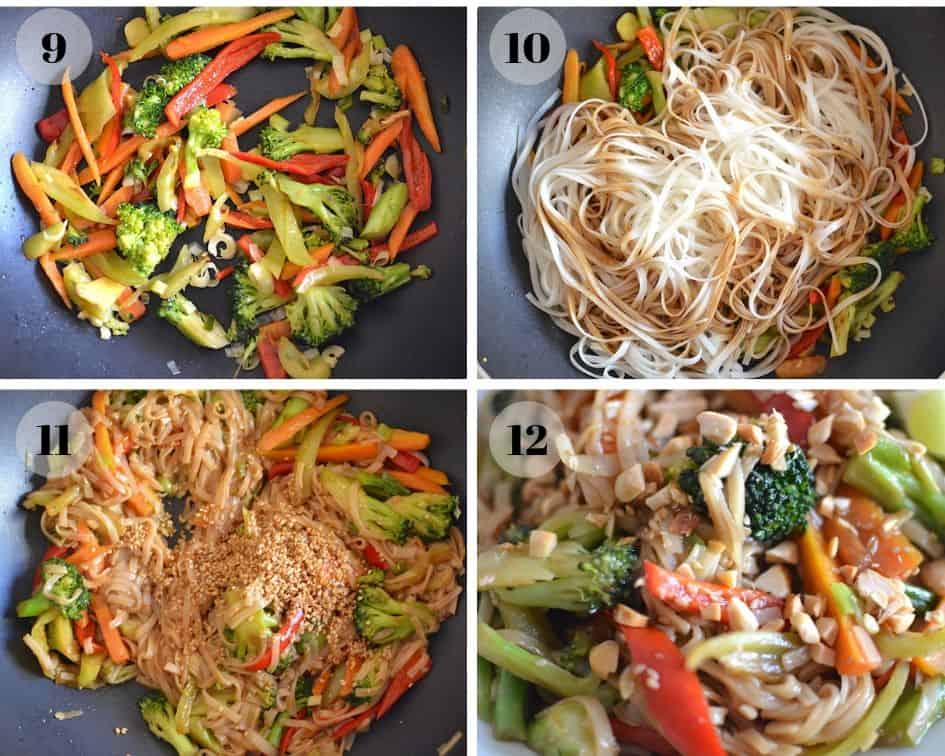 Vegan Pad thai ingredients collage 3