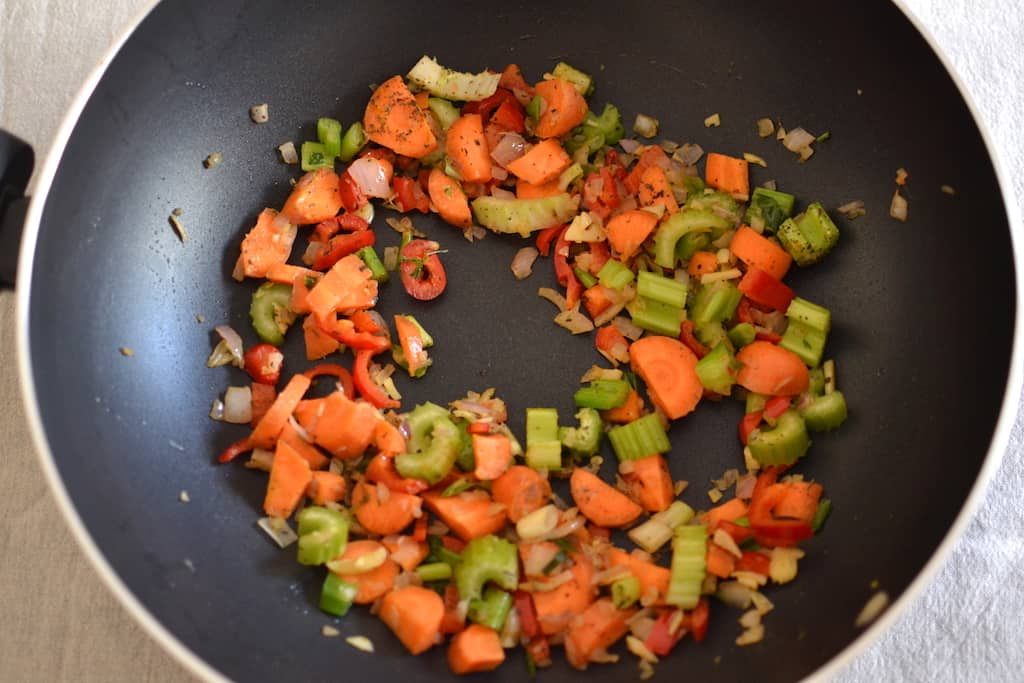 veggies in pan