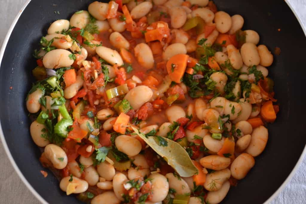Tomato sauce beans in a pan