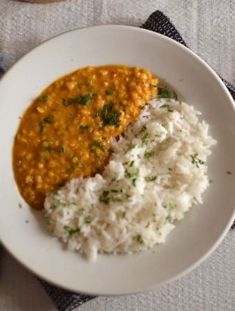 Lentil Dal with rice