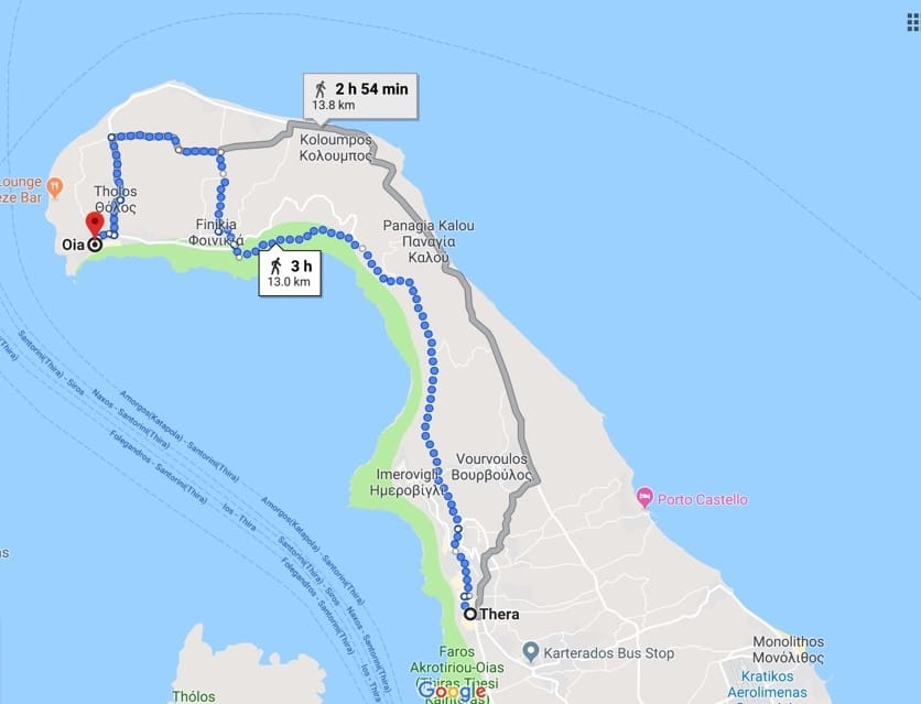 santorini hike map