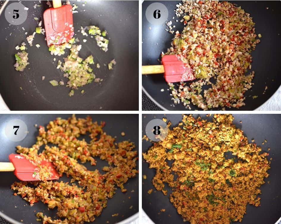 Tofu scramble in a pan