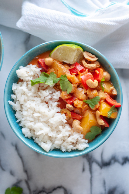 mango curry with white rice