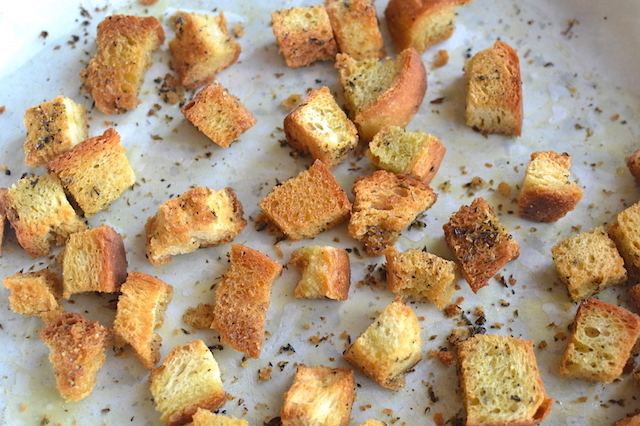 croutons in a pan