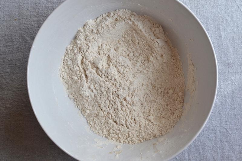 Flour in a white bowl