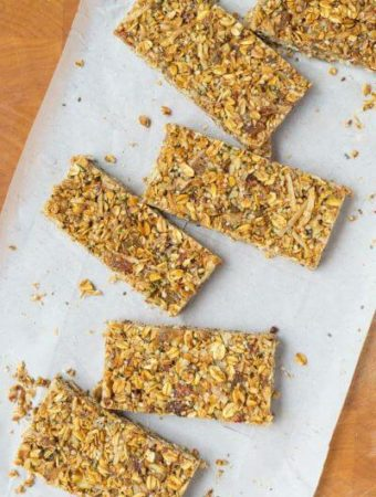 Pieces of Strawberry-Ginger-Granola-Bars