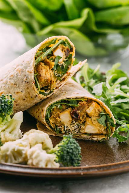 tofu coconut curry wraps with greens on the side