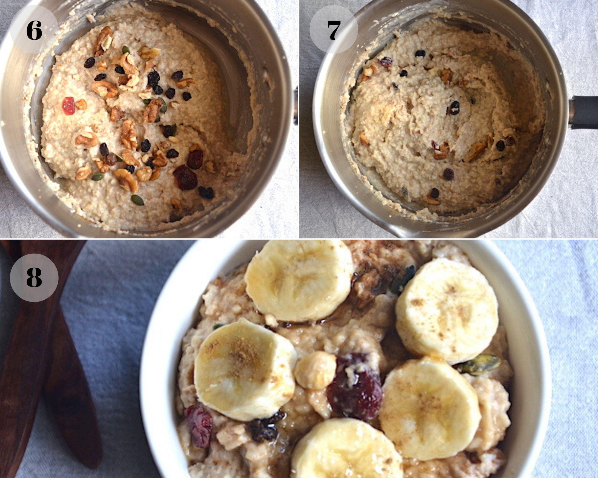 banana porridge in a collage