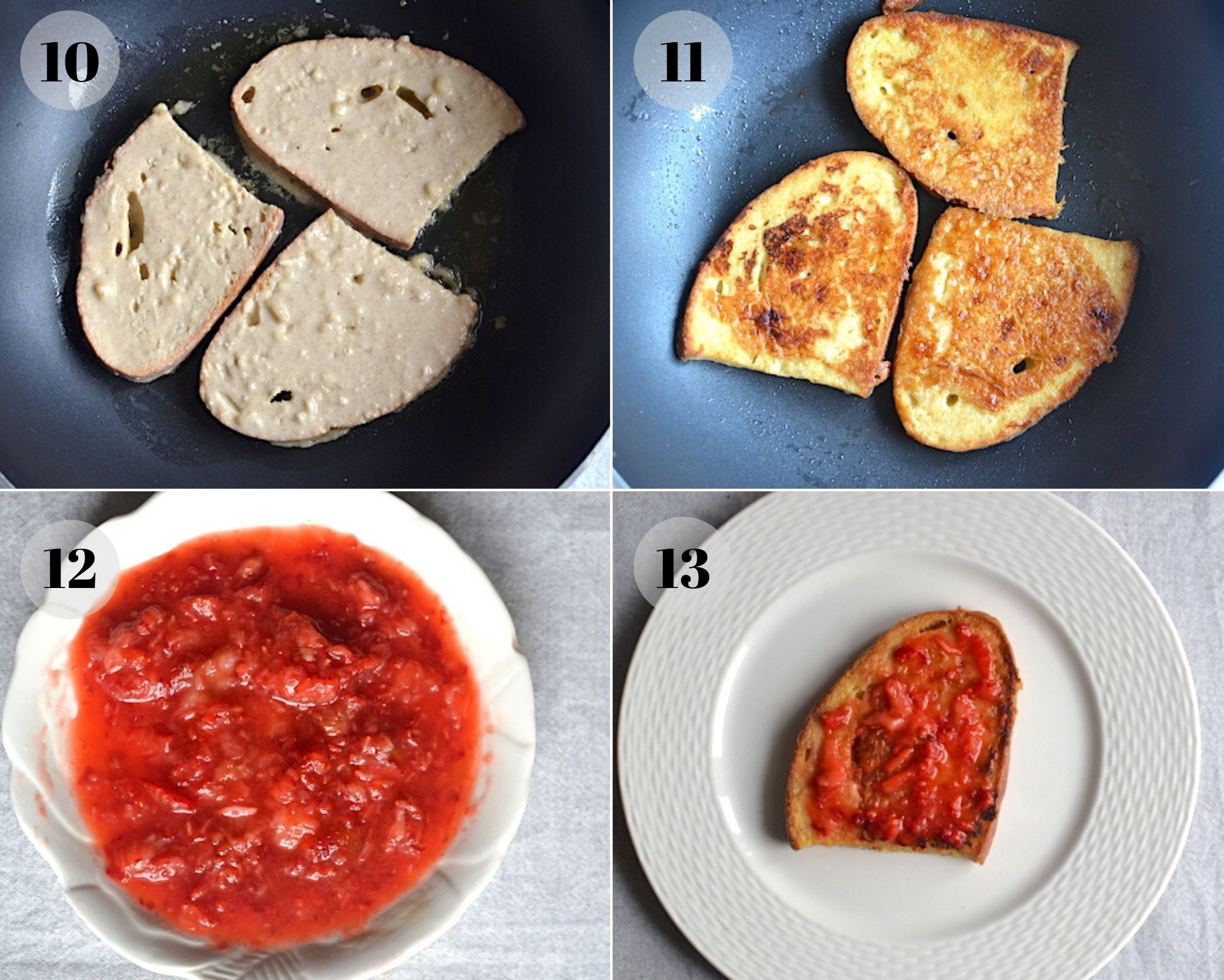 pieces of bread and strawberry sauce