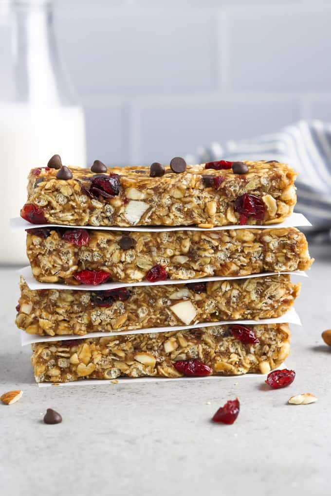 vegan-granola-bars in white paper