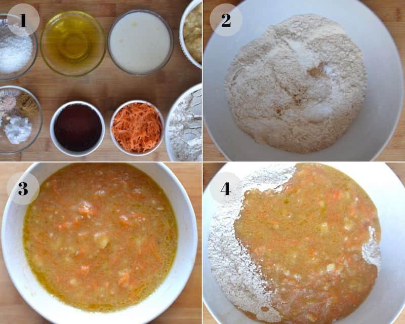 carrot cake preparation collage