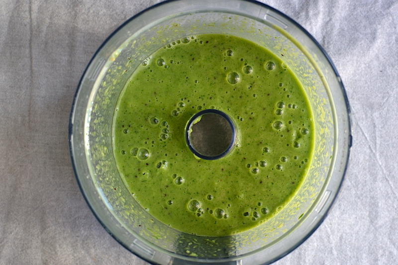 green smoothie in a food processor