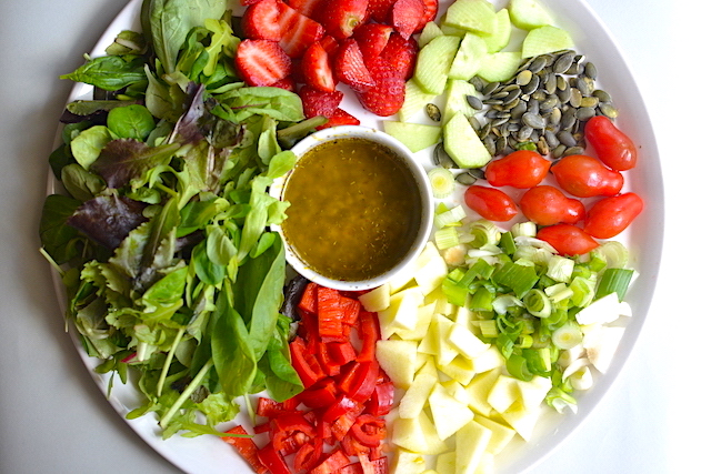 spring salad with olive oil mix
