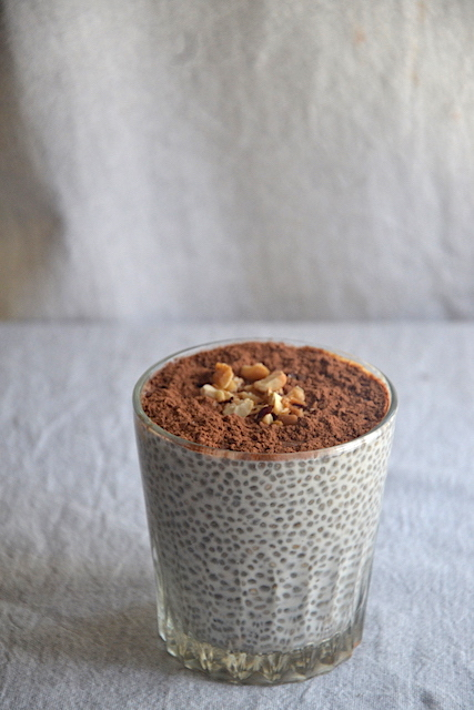 chia pudding with choccolate and nuts