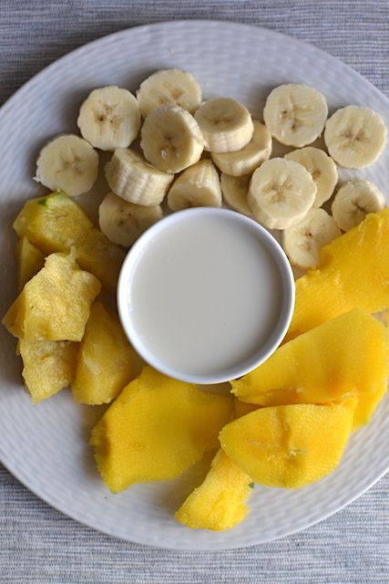 mango, bananas and almond milk