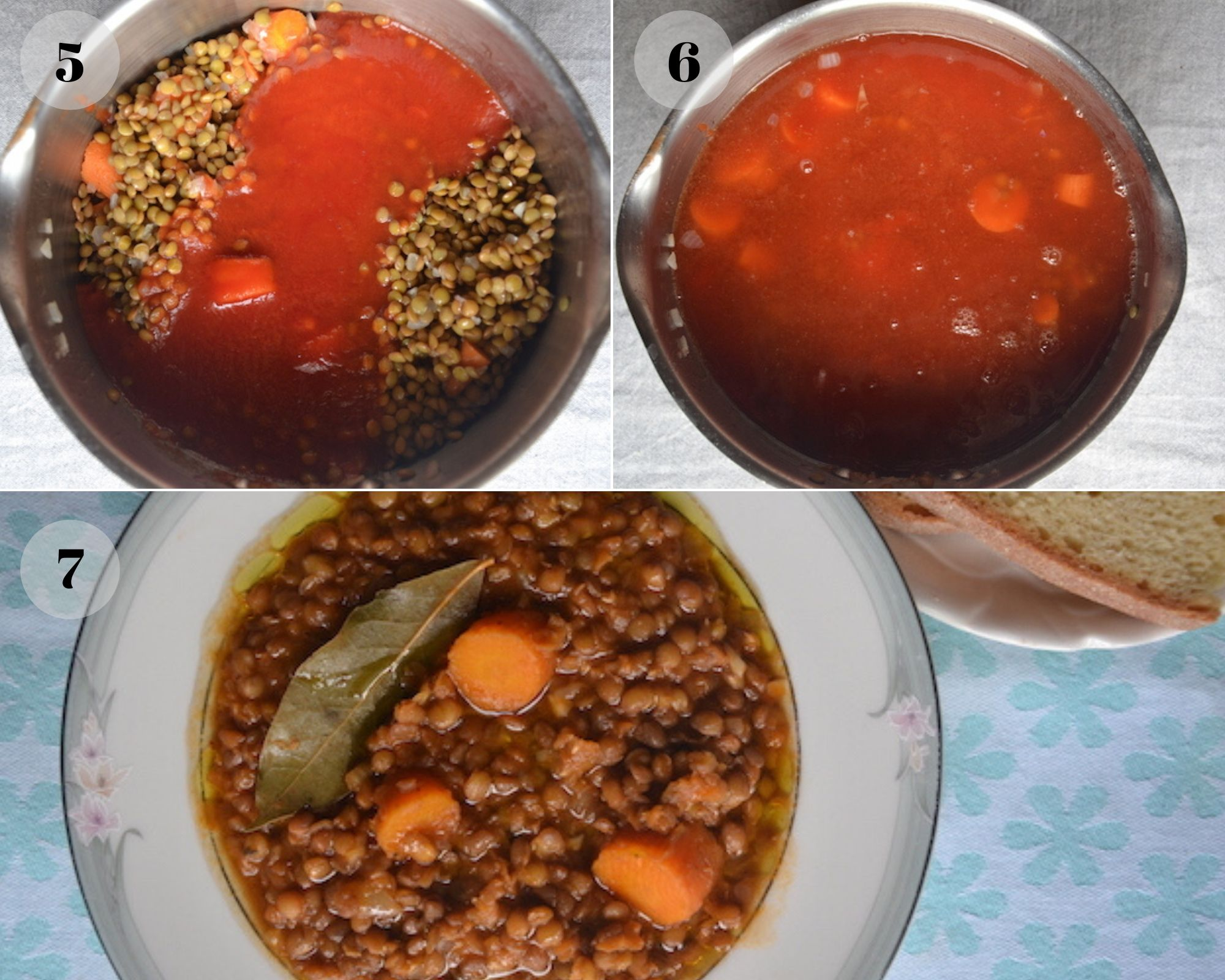 lentil soup collage