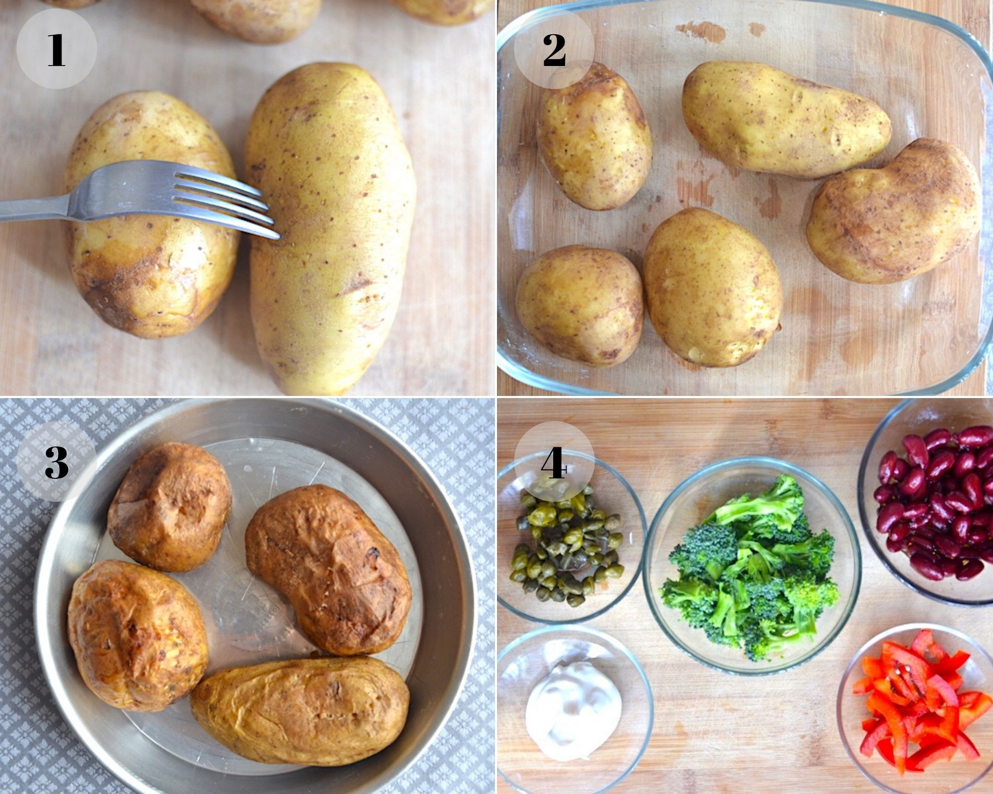 baked potatoes and veggies