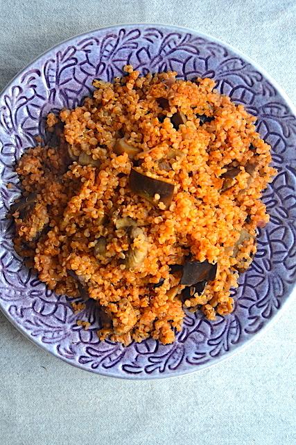 quinoa recipe in a purple plate