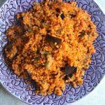 quinoa recipe in purple palte