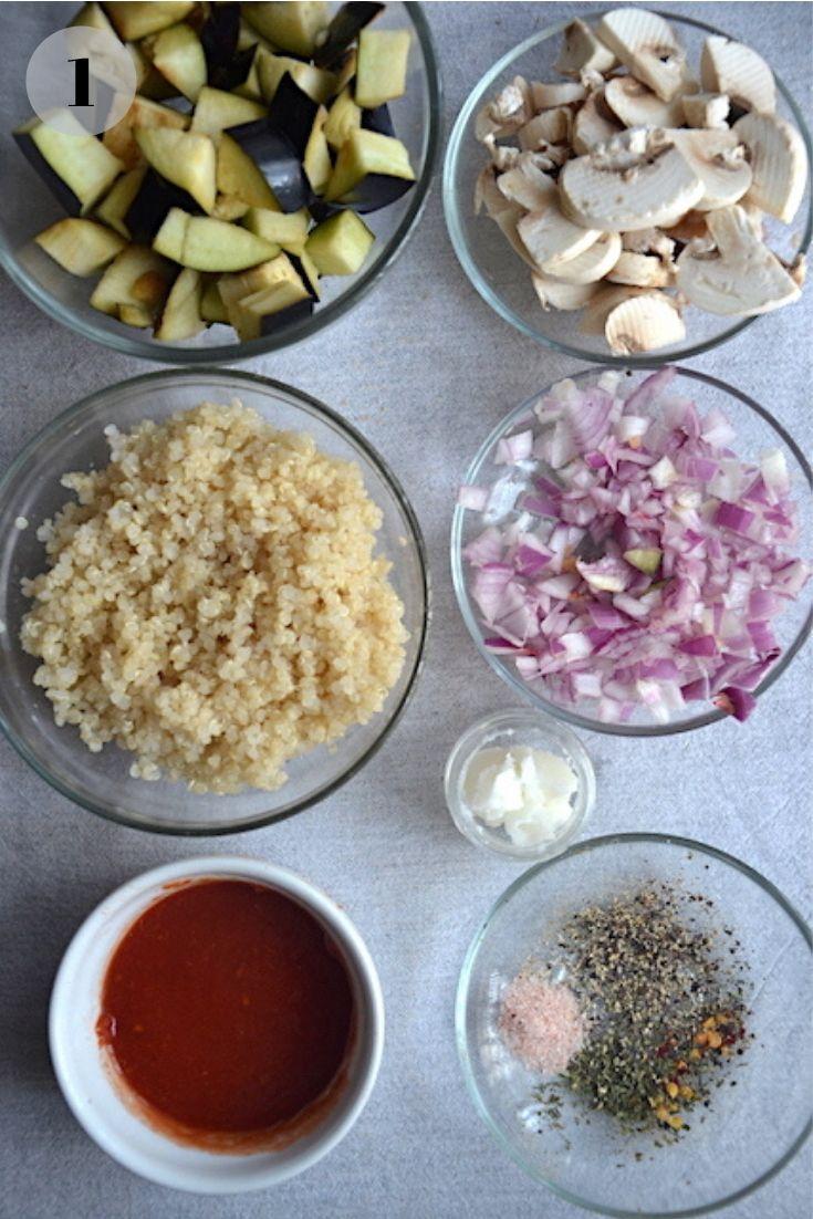 Vegan quinoa recipe ingredients
