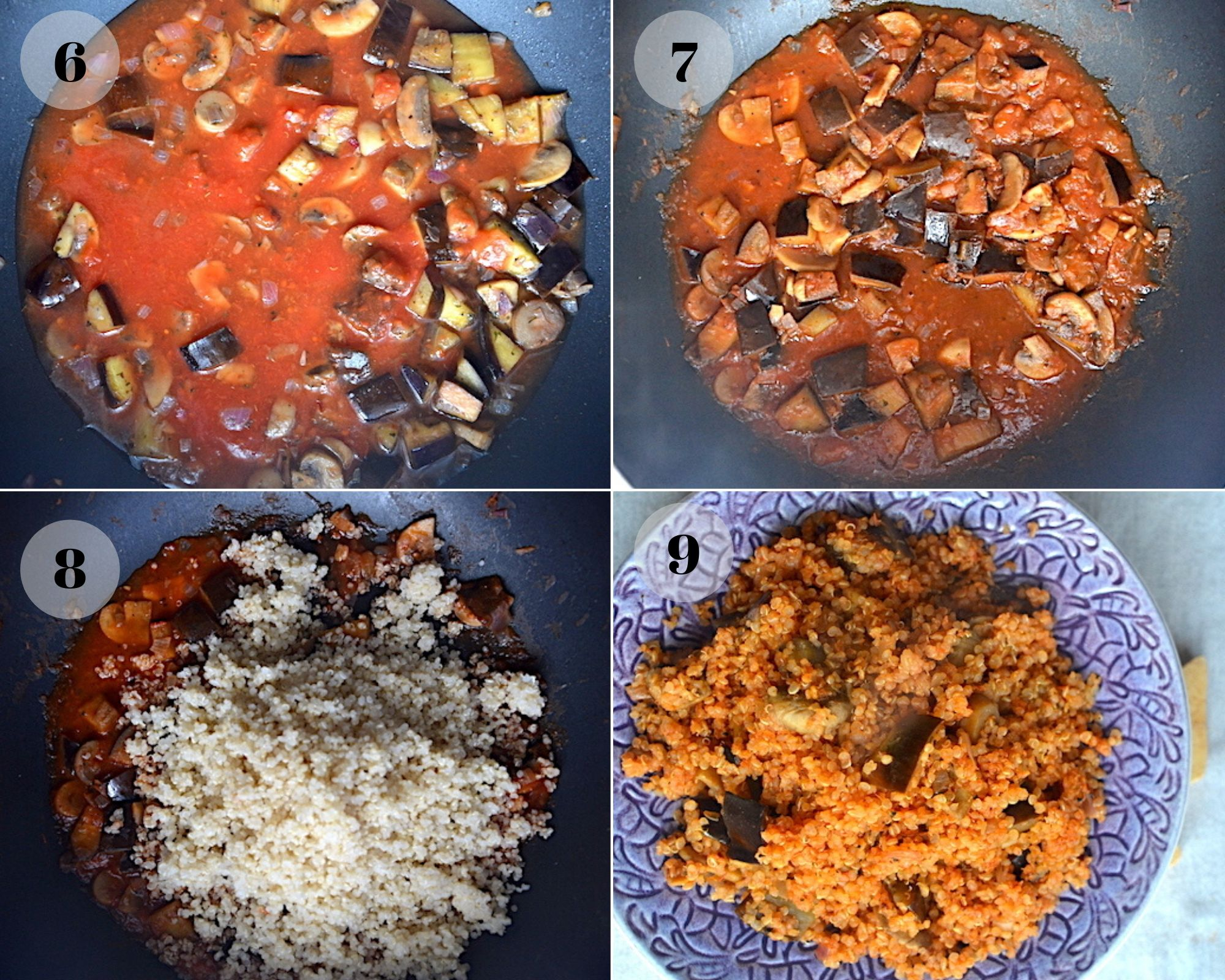 eggplants, tomato sauce and quinoa in a pan