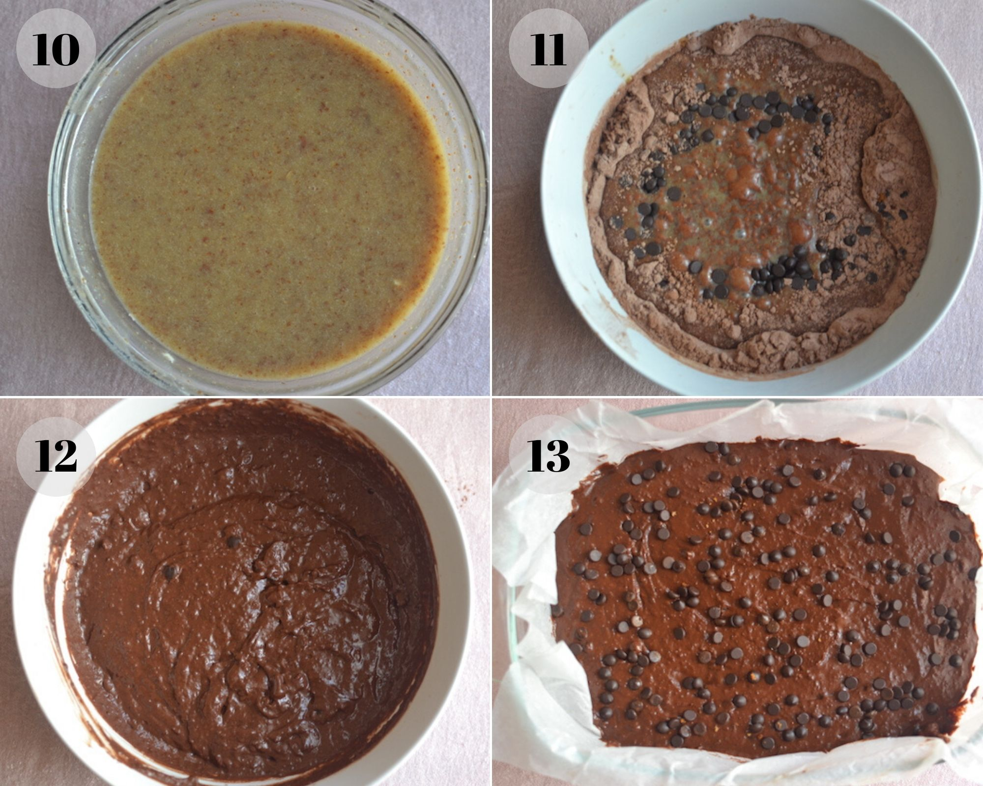 chocolate brownies mix in a collage