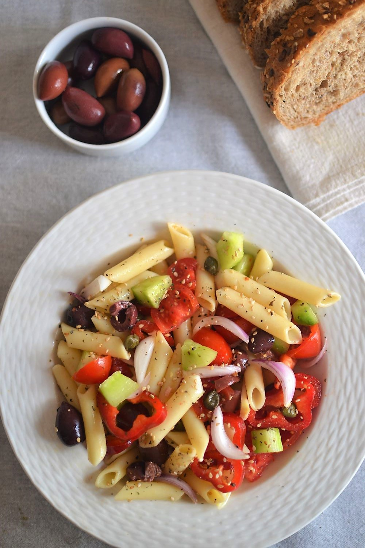 Vegan Pasta Salad with bread