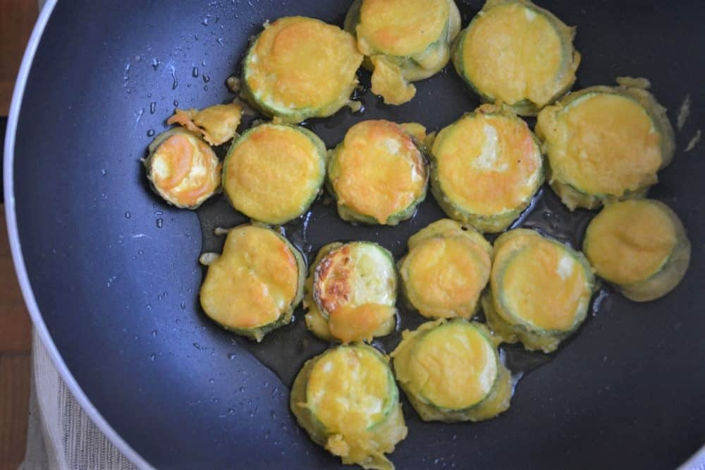 fried squash in a pan