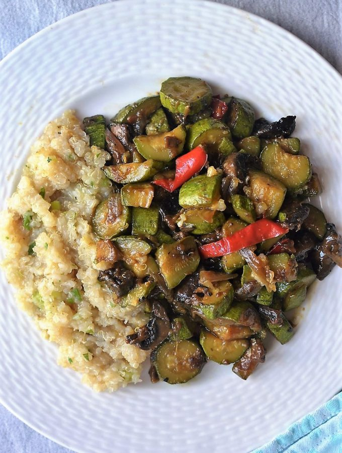 fried vegetables in a white plate