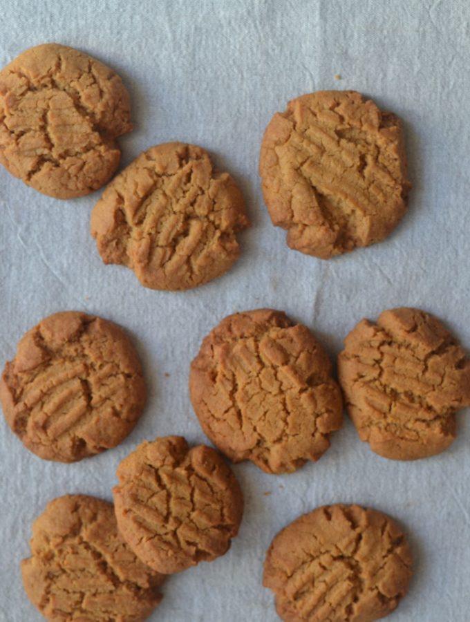 vegan peanut butter cookies in a pan