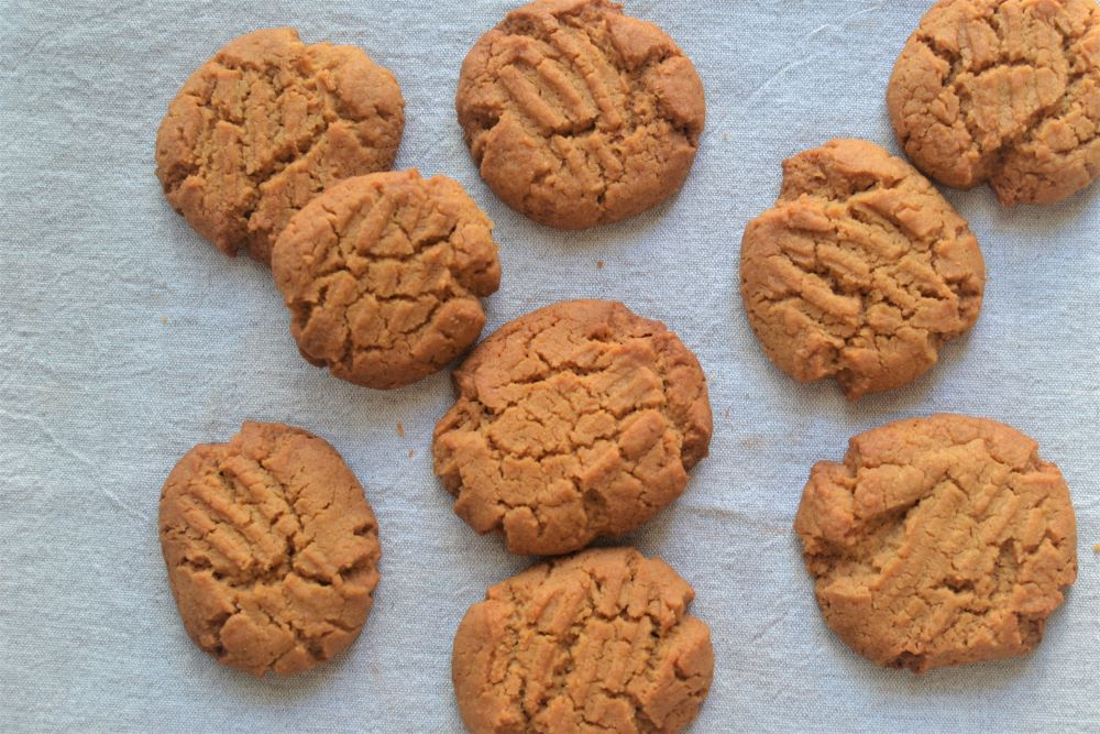 peanut butter cookies in a pan