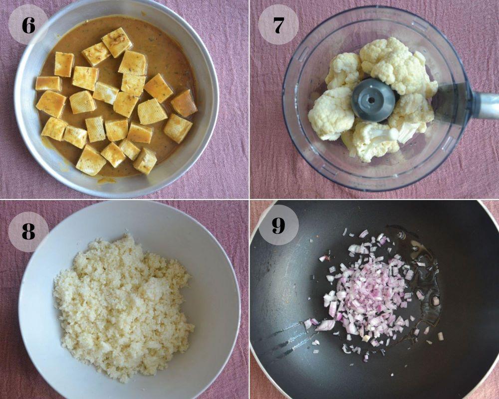 caulifloower rice with tofu collage