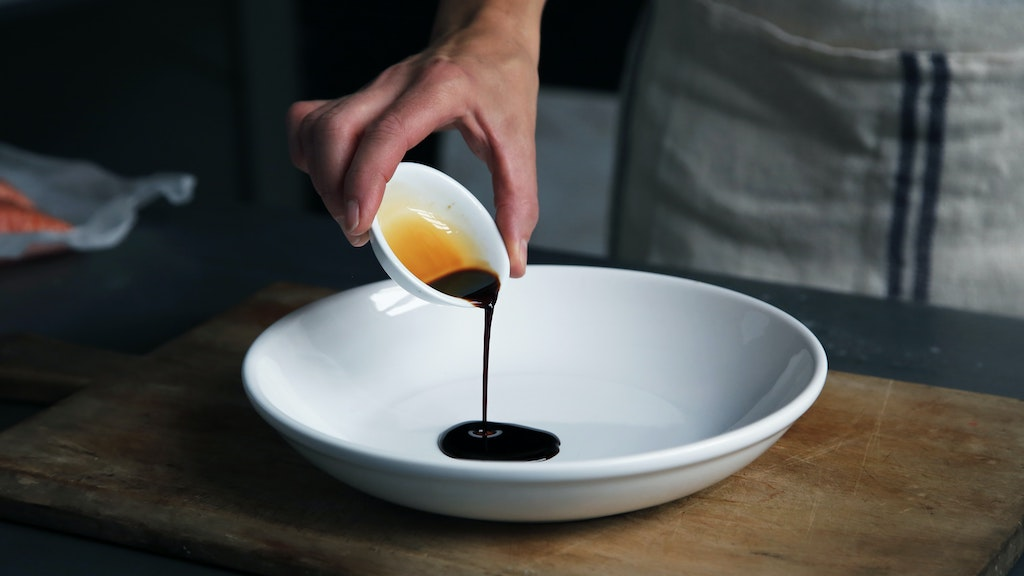 a plate of soy sauce